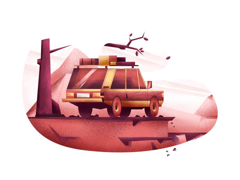 Road trip illustration user interface ui nature car adventure time road trip range rover affinity designer vector illustration minimal clean design flat illustration bright color combinations art adobe illustrator