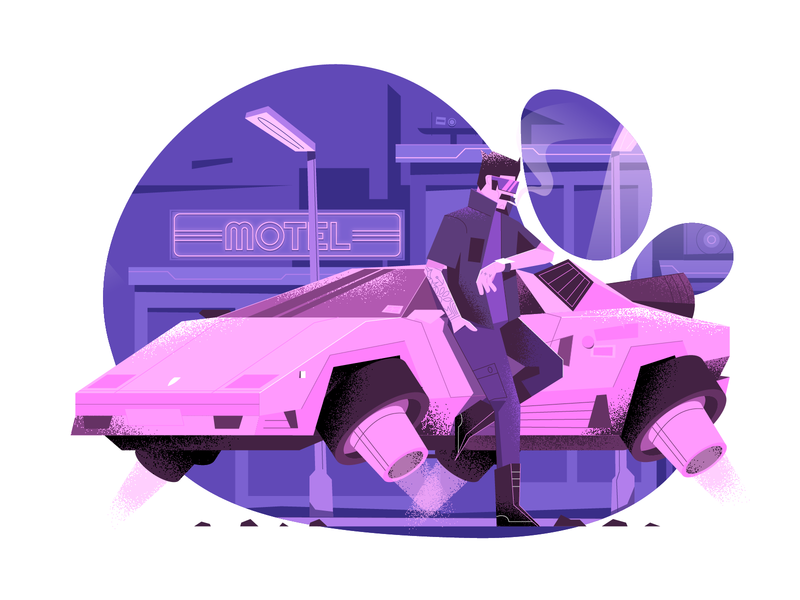 Flying car user interface ui pink cyberpunk 2077 flying car vector illustration flat illustration character design characterdesign bright color combinations art texture adobe illustrator
