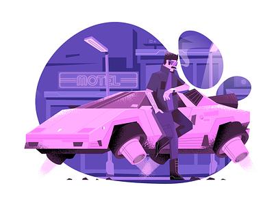 Flying car user interface ui pink cyberpunk 2077 flying car vector illustration flat illustration character design characterdesign bright color combinations art texture adobe illustrator