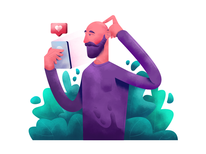 Confused guy affinity designer vector illustration user interface ui mobile tablet illustrations minimal clean design lifestyle flat illustration character exploring character design characterdesign bright color combinations art texture adobe illustrator