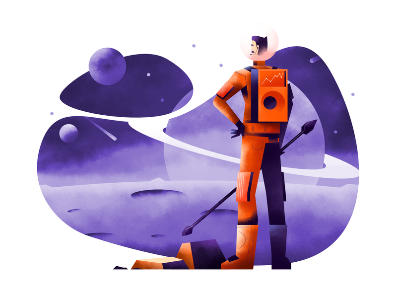 Adventure in space vector illustration user interface ui mobile tablet illustrations minimal clean design space adventures flat illustration character exploring character design characterdesign bright color combinations art texture affinity designer adobe illustrator