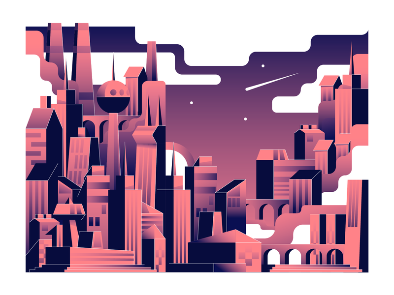 Town building architecture horizon town city illustration vector illustration user interface ui mobile tablet illustrations minimal clean design flat illustration bright color combinations color gradient adobe illustrator