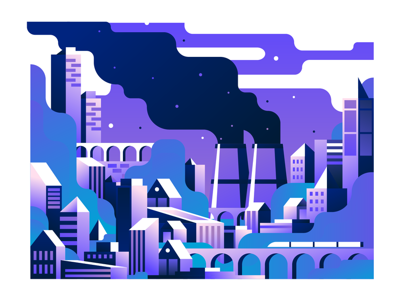 Town 2 vector illustration user interface ui town mobile tablet illustrations minimal clean design horizon flat illustration color gradient city illustration building architecture bright color combinations adobe illustrator