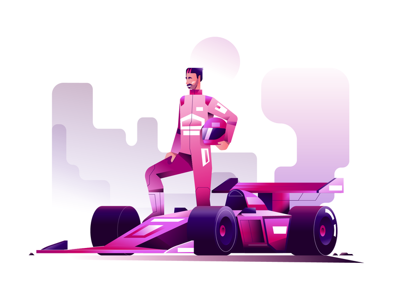 Formula 1 minimal clean design car racer formula 1 f1 gradient color vector illustration user interface ui flat illustration character design characterdesign bright color combinations adobe illustrator