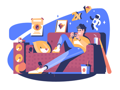 Gamer friday night room chill gamerguy vector illustration user interface ui minimal clean design flat illustration character design characterdesign bright color combinations adobe illustrator