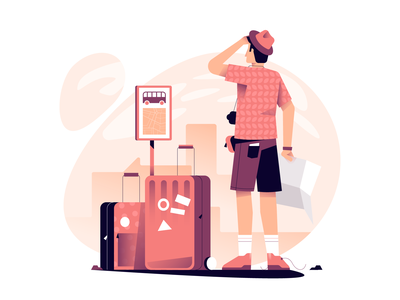 Tourist warm colors design exploration vectorart travel tourist vector illustration user interface ui minimal clean design flat illustration character design characterdesign bright color combinations adobe illustrator