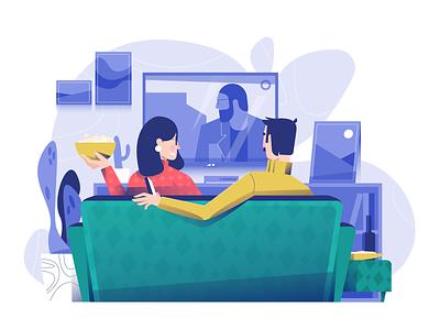 Time to relax blue color vector illustration vectorart user interface ui tv shows movie minimal clean design flat illustration design exploration character design characterdesign bright color combinations adobe illustrator