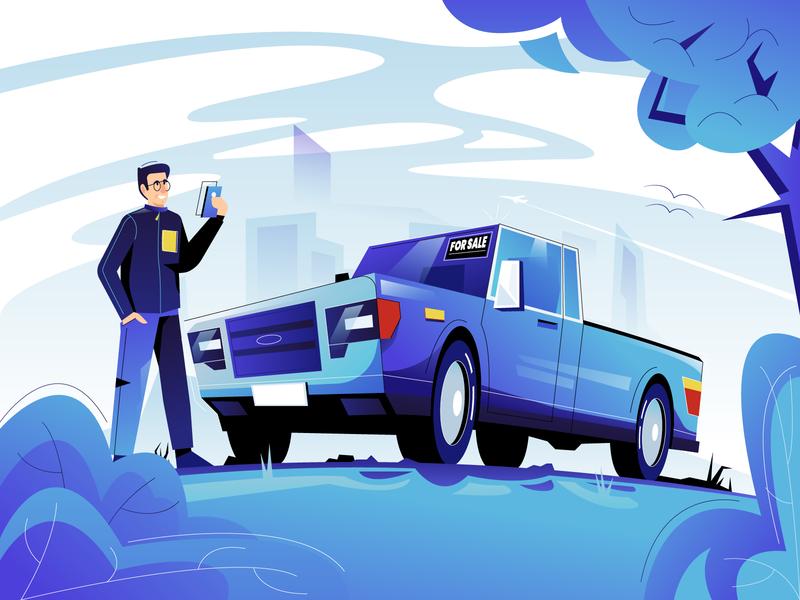 FlipRide illustration pay used car app vector illustration vectorart user interface ui minimal clean design flat illustration design exploration character design characterdesign bright color combinations blue color adobe illustrator