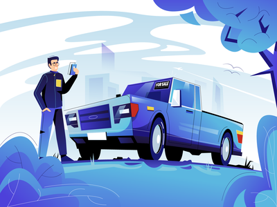 FlipRide illustration pay used car app vector illustration vectorart user interface ui minimal clean design flat illustration design exploration character design characterdesign bright color combinations blue color adobe illustrator