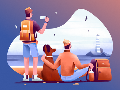Seaside vibes sea dog vector illustration user interface ui mobile tablet illustrations minimal clean design flat illustration character exploring character design characterdesign bright color combinations art texture affinity designer adobe illustrator