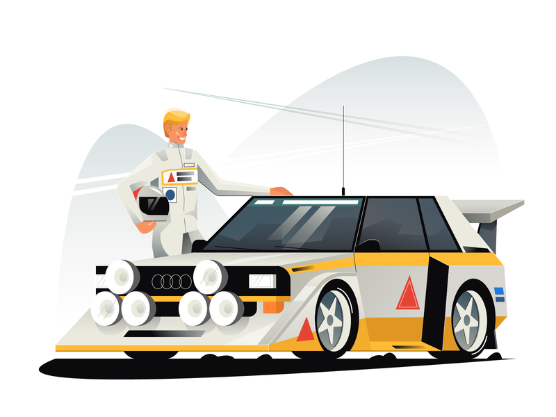Audi S1 audi quattro s1 audi quattro s1 rally car vector illustration user interface ui mobile tablet illustrations minimal clean design flat illustration character exploring character design characterdesign bright color combinations adobe illustrator