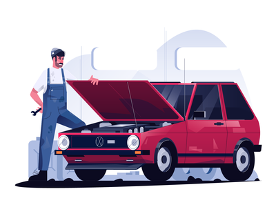 VW golf illustration car service vw golf vector illustration user interface ui mobile tablet illustrations minimal clean design flat illustration character exploring character design characterdesign bright color combinations adobe illustrator
