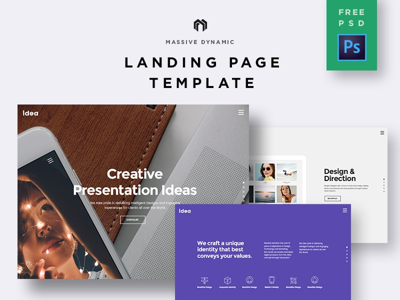 Landing Page Freebie PSD download freebie photoshop free icon uidesign creative webpage webdesign ui ux web typography site