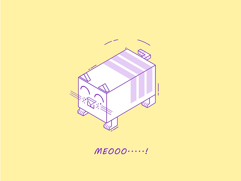 The Cat's Meow! perspective creative design yellow pixflow cat