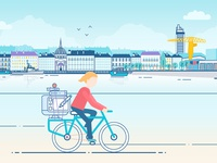 One day in Nantes illustrator vectorillustration vectorart city-illustration nantes rebound designer-on-a-bike
