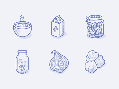 Veggie Food Icons pickles milk shellfruit illustration etching engraving greens leguminous veggies vegetarian vegan icons