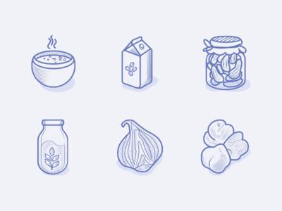 Veggie Food Icons pickles milk shellfruit illustration etching engraving greens leguminous veggies vegetarian vegan icons