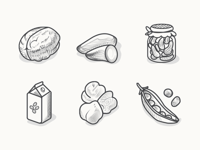 Veggie Food Icons3 icons vegan vegetarian veggies leguminous greenpeas engraving etching illustration shellfruit milk pickles