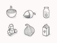 Veggie Food Icons Black & White Variation
