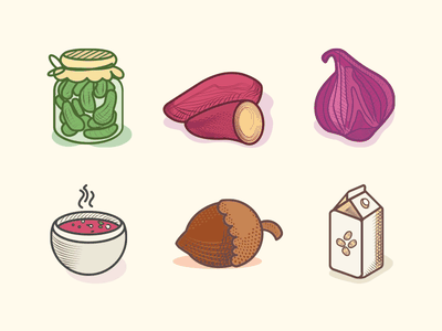 Veggie food icons color