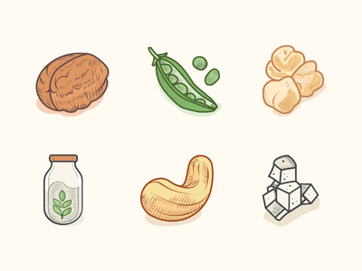 Veggie Food Icons Colored 2 icons vegan vegetarian veggies leguminous greens engraving etching illustration shellfruit milk pickles