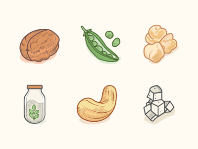 Veggie Food Icons Colored 2