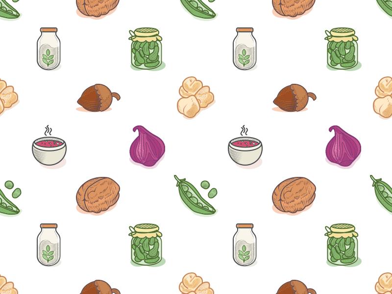 Veggies Icons Pattern icons vegan vegetarian veggies leguminous greens engraving etching illustration shellfruit iconpattern pattern