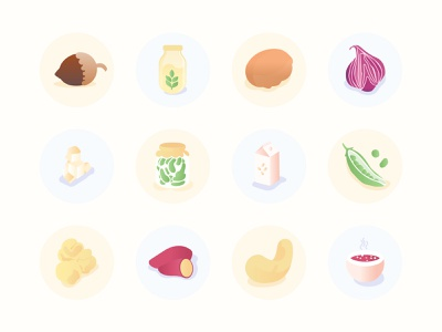 Veggie Food Icon Full Set yam sweetpotatoes chickpeas soup onion cashew walnut hazelnut peas tofu soy milk oat milk leguminous greens gradient flat vegan icons vegetarian veggies