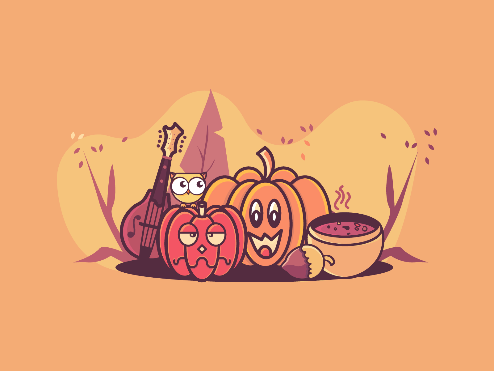 Autumn is coming! soup fall mandoline hazelnut owl illustration icons guitar music string intruments veggies halloween autumn