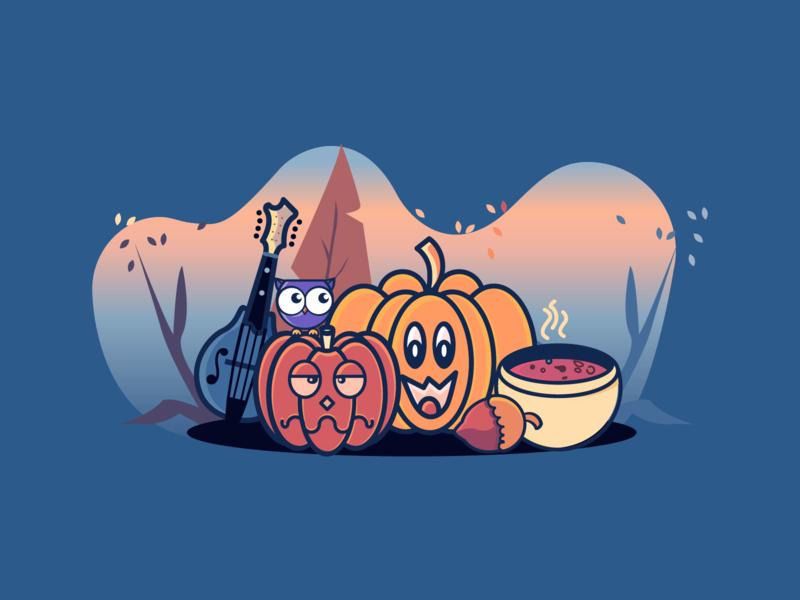 Autumn Night string instruments guitar mandoline music indoor night owl halloween pumpkin soup nut hazelnut veggies food fall autumn
