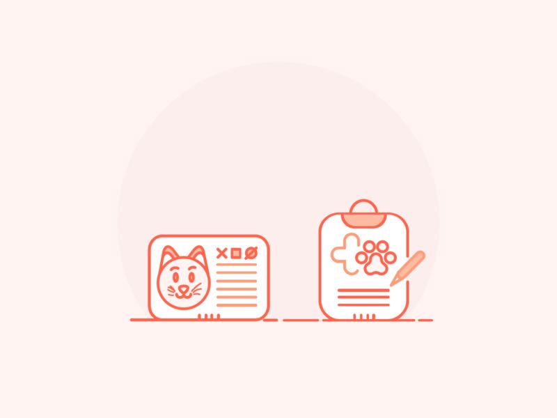 Vet Icons - Colors vet prescription cat id vet sign paws cat colors veterinarian icons set illustration icons