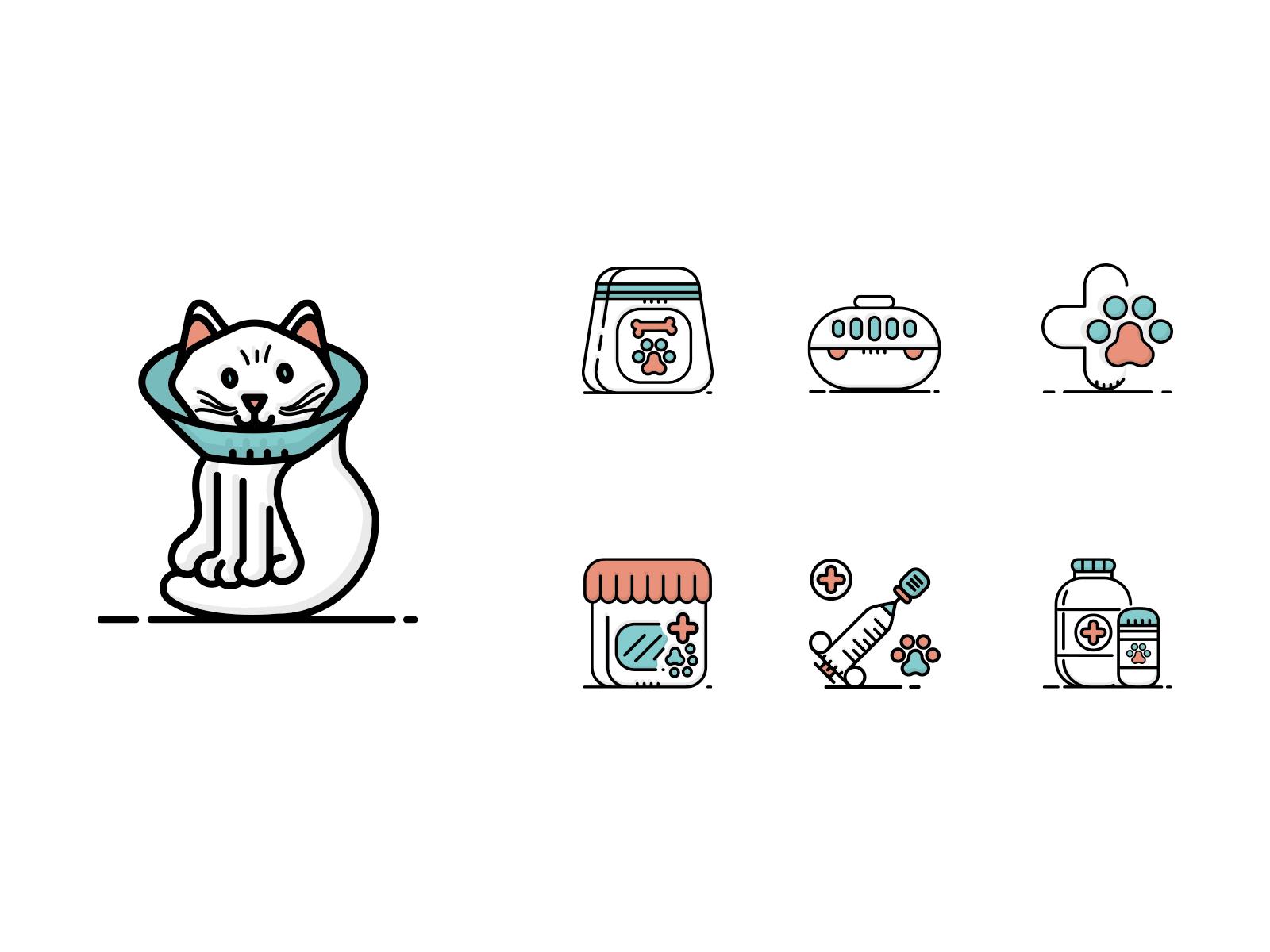 Vet pet icons bicolor