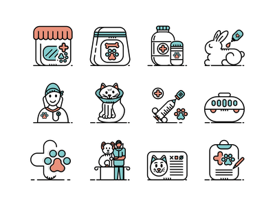 12 Veterinary & Pet Care Icons icons illustration pet vaccination vet veterinarian veterinary vet business pet care insecticide vet sign prescription consultation bicolor filled outline