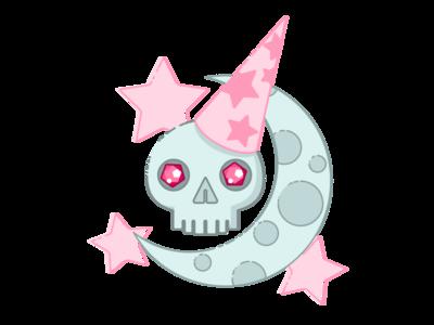 Demilich Moon lich wizard skull illustration demilich