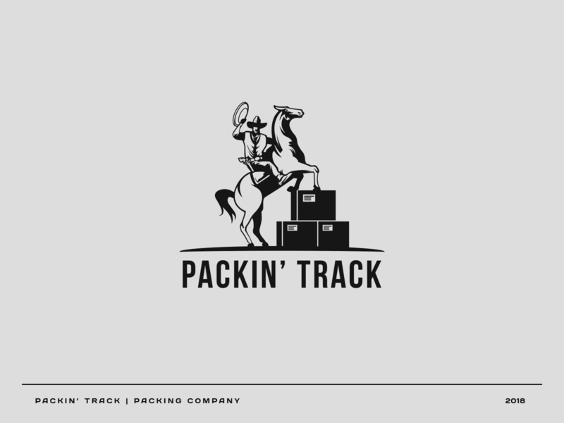 Packin' Track cowboy usa horse shipping package vector illustration logo branding brand graphic design graphic design