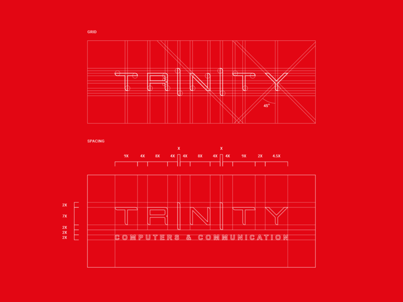 Trinity brand guide technology grid vector logo color branding brand graphic design graphic design