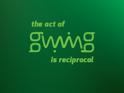 Giving give reciprocal anagram illustration design typography type letterforms giving rebound
