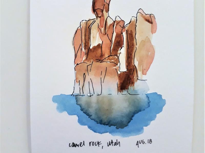 Camel Rock Watercolor 2 rock camel utah lake powell design line free minimal illustration