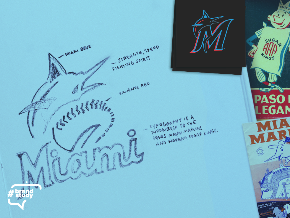 Brand Study: Marlins brand typography marlin miami baseball sports logo drawing sketch