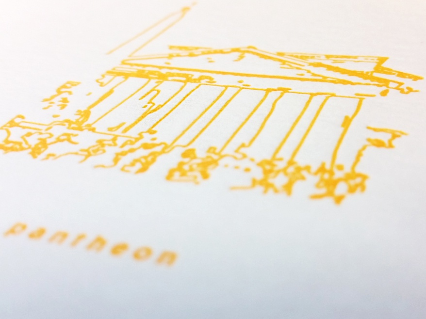 Pantheon stationary letterpress sketch linework lineart yellow pantheon italy contour