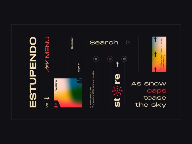 Layout #6 / Estupendo gradient search concept dark typography poster ui web color design