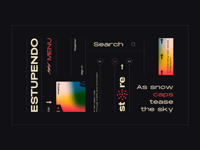 Layout #6 / Estupendo gradient search concept dark typography poster ui web color design