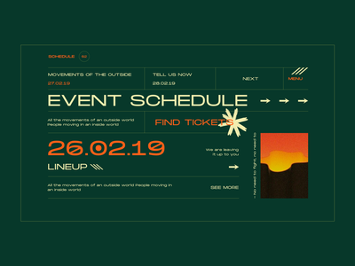 Layout #7 / Event Page schedule event tickets gradient typography music poster ui web color design