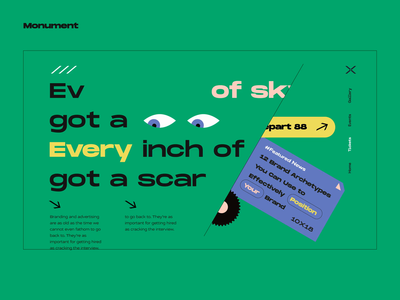 Layout #15 / Everything Now landing layout typography animation illustration ux vector ui web color design