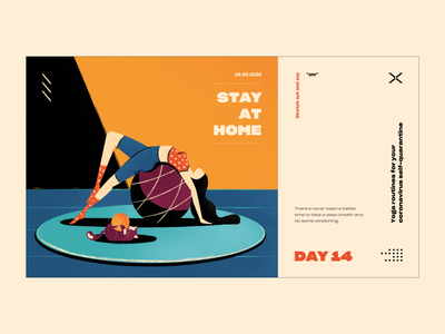 Stay At Home yoga covid19 stay at home typography poster illustration vector ui web color design