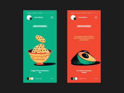 Stay At Home #3 story instagramstory instagram design color vector fresh cookies avocado illustration breakfast stayathome