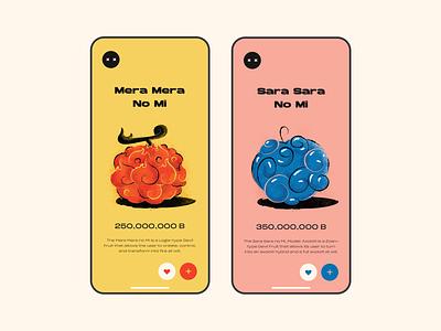 Mera Mera No Mi screen texture one piece fruit mobile illustration vector ui color design
