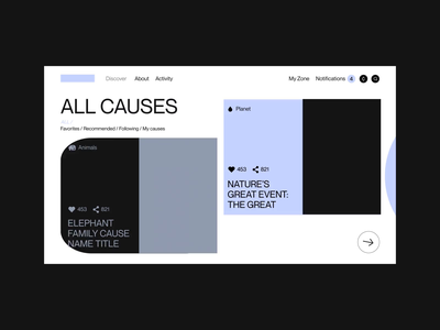 A Social Network For Giving - UI donate causes giving support color icon mobile animation ux web ui design