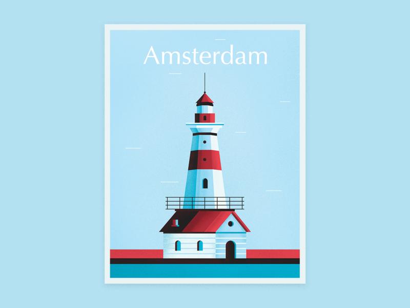 Amsterdam amsterdam windmill texture color vector poster design illustration