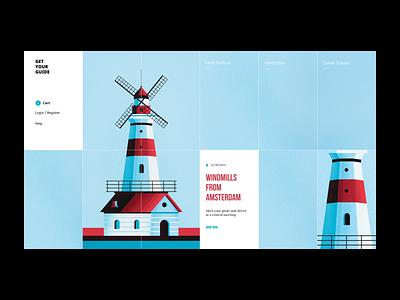 Amsterdam Windmills - Ui Design animation web ux ui vector color illustration design